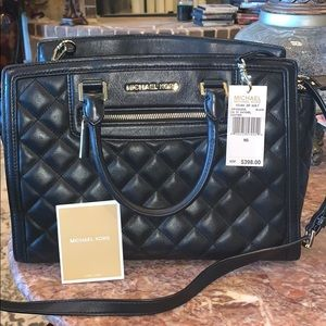 Black Michael Korda Quilted Purse
